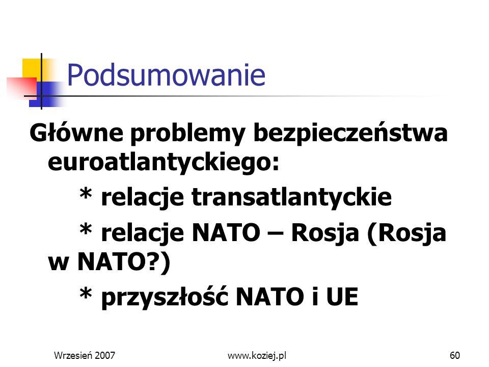 Wrzesień 200760 Podsumowanie Główne problemy bezpieczeństwa euroatlantyckiego: * relacje transatlantyckie * relacje NATO – Rosja (Rosja w NATO?) * prz