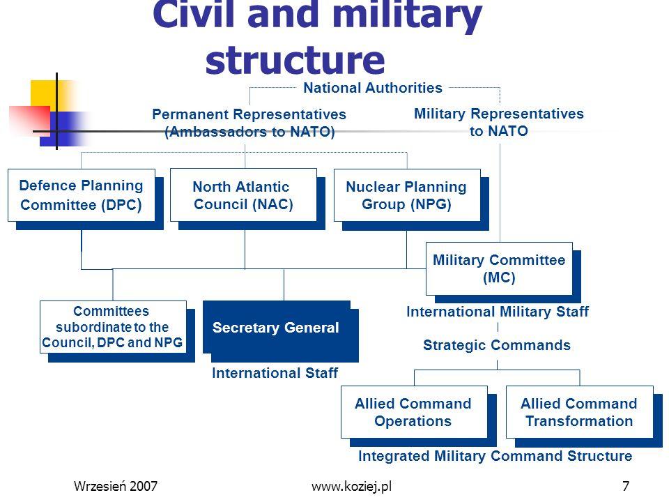 Wrzesień 200748 Zadania wojskowe w walce z terroryzmem (5) Przygotowanie poprawa zdolności - wywiad, mobilność i gotowość sił, skuteczność operacyjna (broń precyzyjna), ochrona wojsk, OPBMR poprawa procedur - identyfikacja miejsc (obiektów) zagrożonych, wypracowywanie międzynarodowej strategii walki z terroryzmem, procedury CIMIC, minimalizowanie dostępności BMR, min itp.