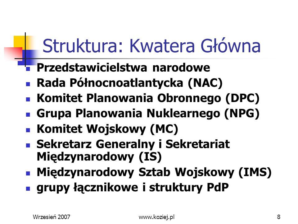 Wrzesień 20078 Struktura: Kwatera Główna Przedstawicielstwa narodowe Rada Północnoatlantycka (NAC) Komitet Planowania Obronnego (DPC) Grupa Planowania