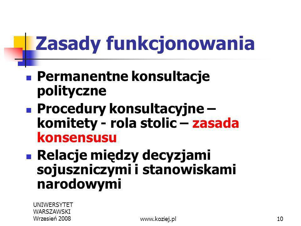 UNIWERSYTET WARSZAWSKI Wrzesień 200810 Zasady funkcjonowania Permanentne konsultacje polityczne Procedury konsultacyjne – komitety - rola stolic – zas