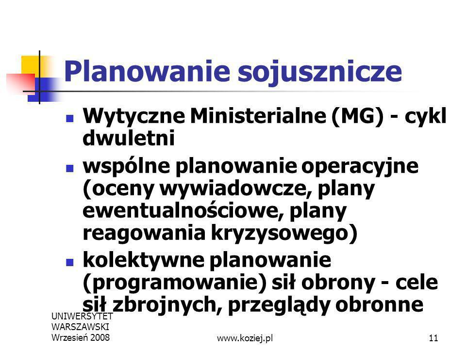 UNIWERSYTET WARSZAWSKI Wrzesień 200811 Planowanie sojusznicze Wytyczne Ministerialne (MG) - cykl dwuletni wspólne planowanie operacyjne (oceny wywiado