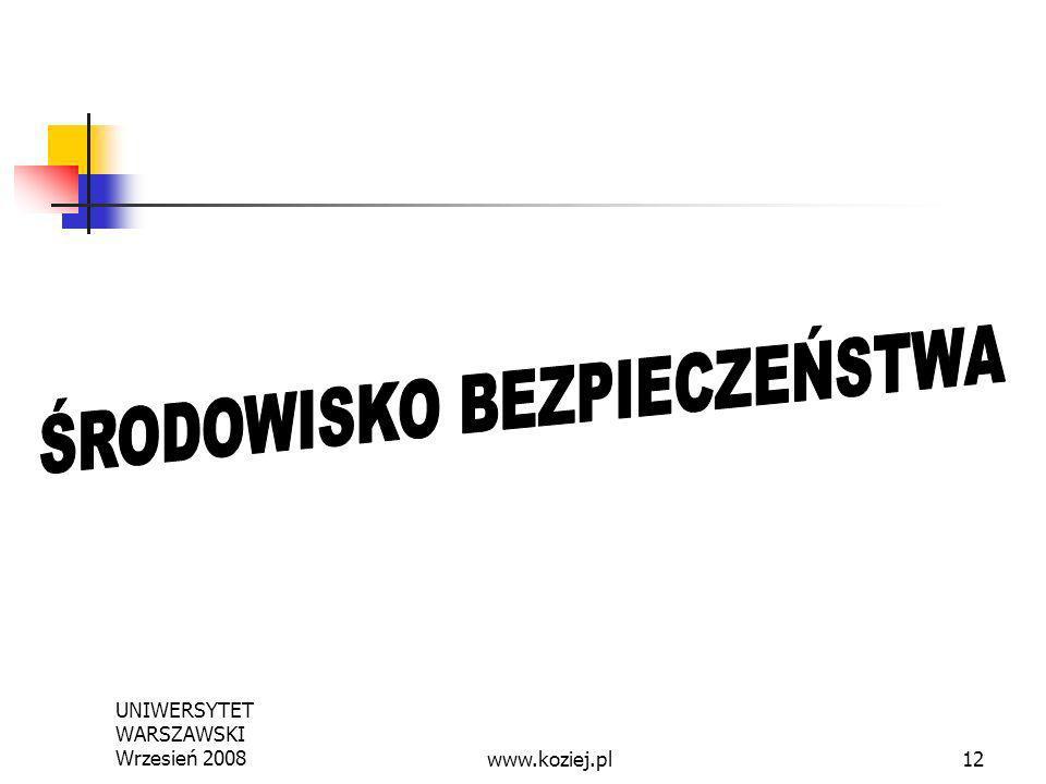 UNIWERSYTET WARSZAWSKI Wrzesień 200812www.koziej.pl
