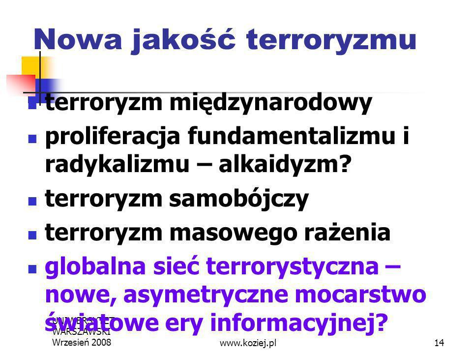 UNIWERSYTET WARSZAWSKI Wrzesień 200814 Nowa jakość terroryzmu terroryzm międzynarodowy proliferacja fundamentalizmu i radykalizmu – alkaidyzm? terrory