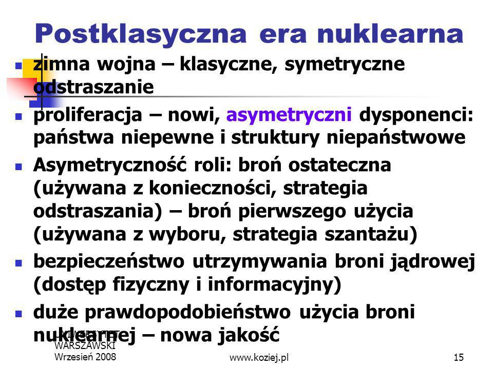 UNIWERSYTET WARSZAWSKI Wrzesień 200815 Postklasyczna era nuklearna zimna wojna – klasyczne, symetryczne odstraszanie proliferacja – nowi, asymetryczni