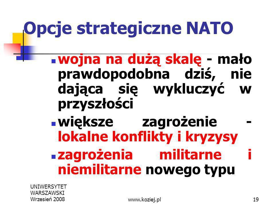 UNIWERSYTET WARSZAWSKI Wrzesień 200819 Opcje strategiczne NATO wojna na dużą skalę - mało prawdopodobna dziś, nie dająca się wykluczyć w przyszłości w