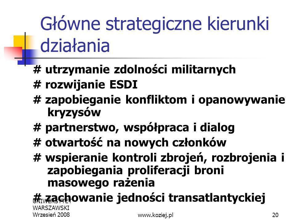 UNIWERSYTET WARSZAWSKI Wrzesień 200820 Główne strategiczne kierunki działania # utrzymanie zdolności militarnych # rozwijanie ESDI # zapobieganie konf