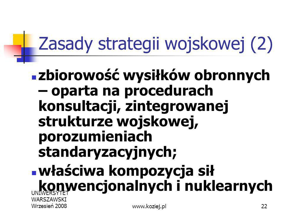 UNIWERSYTET WARSZAWSKI Wrzesień 200822 Zasady strategii wojskowej (2) zbiorowość wysiłków obronnych – oparta na procedurach konsultacji, zintegrowanej