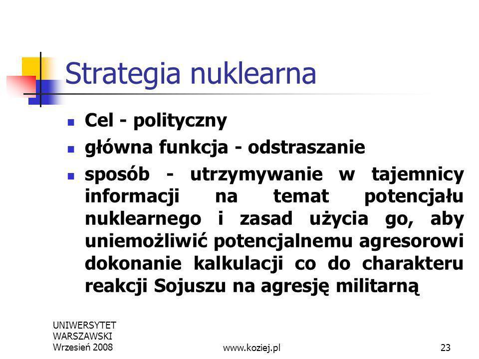 UNIWERSYTET WARSZAWSKI Wrzesień 200823 Strategia nuklearna Cel - polityczny główna funkcja - odstraszanie sposób - utrzymywanie w tajemnicy informacji