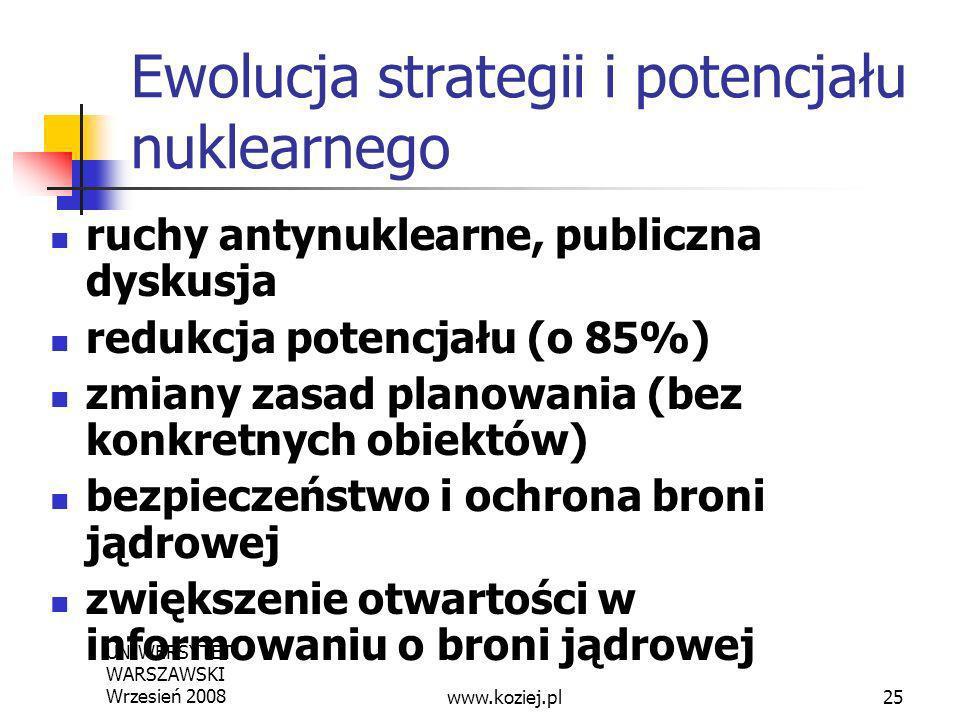 UNIWERSYTET WARSZAWSKI Wrzesień 200825 Ewolucja strategii i potencjału nuklearnego ruchy antynuklearne, publiczna dyskusja redukcja potencjału (o 85%)