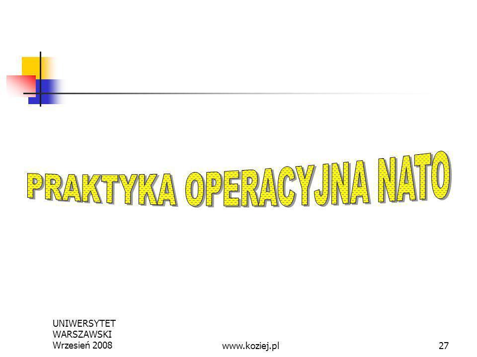 UNIWERSYTET WARSZAWSKI Wrzesień 200827www.koziej.pl