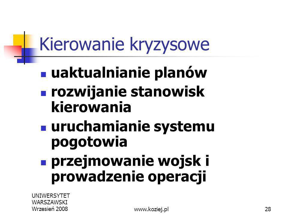 UNIWERSYTET WARSZAWSKI Wrzesień 200828 Kierowanie kryzysowe uaktualnianie planów rozwijanie stanowisk kierowania uruchamianie systemu pogotowia przejm