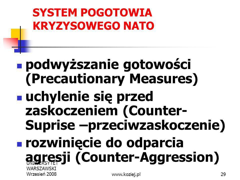 UNIWERSYTET WARSZAWSKI Wrzesień 200829 SYSTEM POGOTOWIA KRYZYSOWEGO NATO podwyższanie gotowości (Precautionary Measures) uchylenie się przed zaskoczen