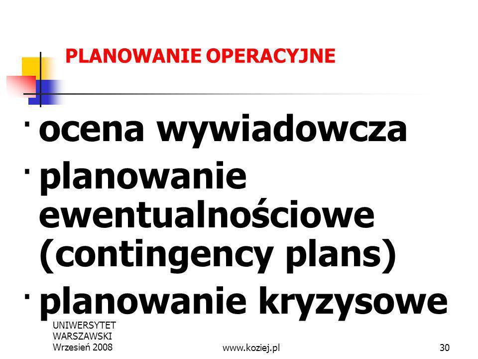 UNIWERSYTET WARSZAWSKI Wrzesień 200830 PLANOWANIE OPERACYJNE ocena wywiadowcza plany ewentualnościowe (contingency plans) planowanie kryzysowe PROCEDU