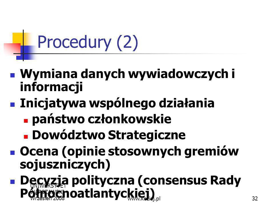UNIWERSYTET WARSZAWSKI Wrzesień 200832 Procedury (2) Wymiana danych wywiadowczych i informacji Inicjatywa wspólnego działania państwo członkowskie Dow