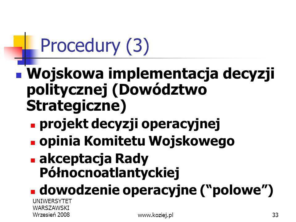 UNIWERSYTET WARSZAWSKI Wrzesień 200833 Procedury (3) Wojskowa implementacja decyzji politycznej (Dowództwo Strategiczne) projekt decyzji operacyjnej o
