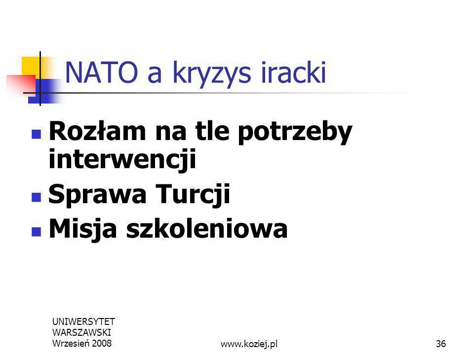 UNIWERSYTET WARSZAWSKI Wrzesień 200836 NATO a kryzys iracki Rozłam na tle potrzeby interwencji Sprawa Turcji Misja szkoleniowa www.koziej.pl