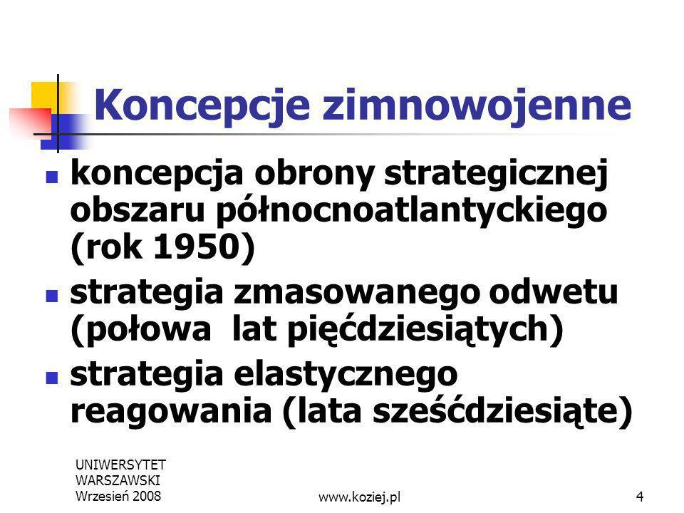 UNIWERSYTET WARSZAWSKI Wrzesień 20084 Koncepcje zimnowojenne koncepcja obrony strategicznej obszaru północnoatlantyckiego (rok 1950) strategia zmasowa