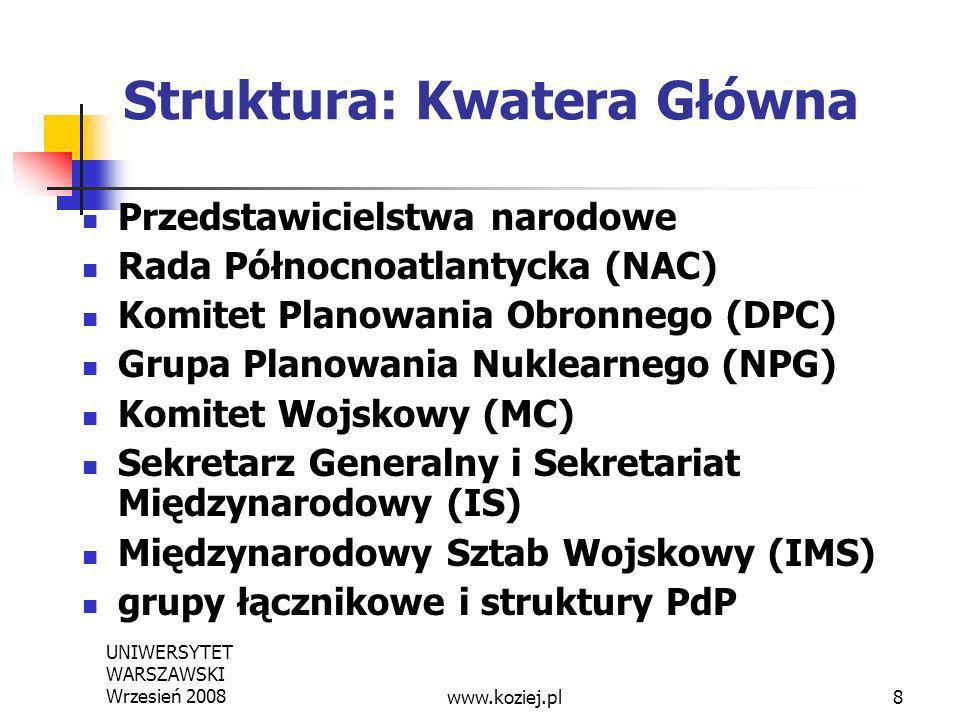 UNIWERSYTET WARSZAWSKI Wrzesień 20088 Struktura: Kwatera Główna Przedstawicielstwa narodowe Rada Północnoatlantycka (NAC) Komitet Planowania Obronnego