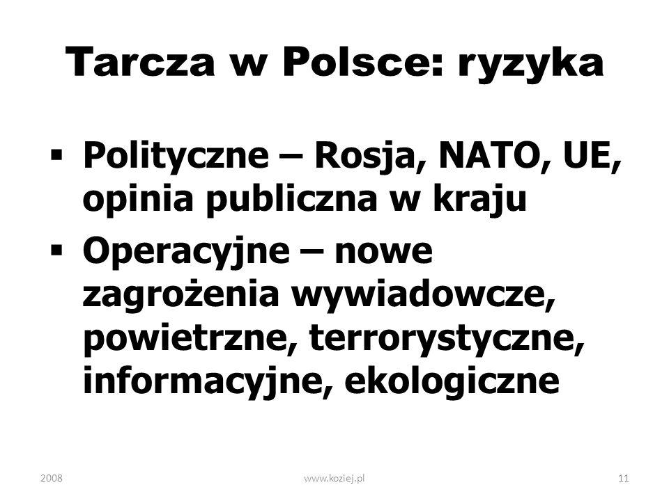 2008www.koziej.pl11 Tarcza w Polsce: ryzyka Polityczne – Rosja, NATO, UE, opinia publiczna w kraju Operacyjne – nowe zagrożenia wywiadowcze, powietrzn