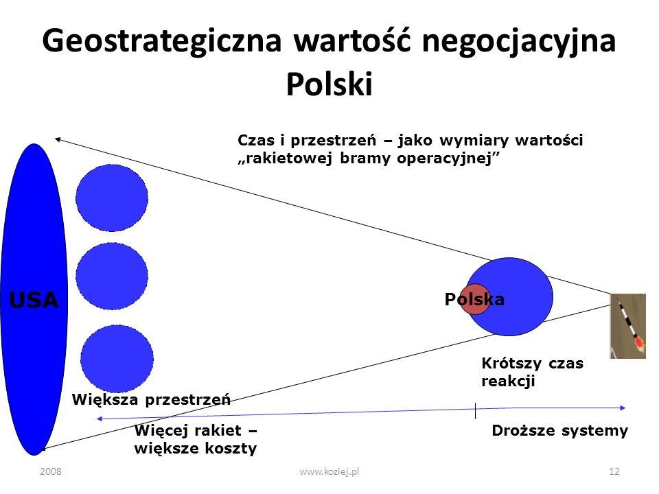 2008www.koziej.pl12 Geostrategiczna wartość negocjacyjna Polski Polska USA Czas i przestrzeń – jako wymiary wartości rakietowej bramy operacyjnej Krót
