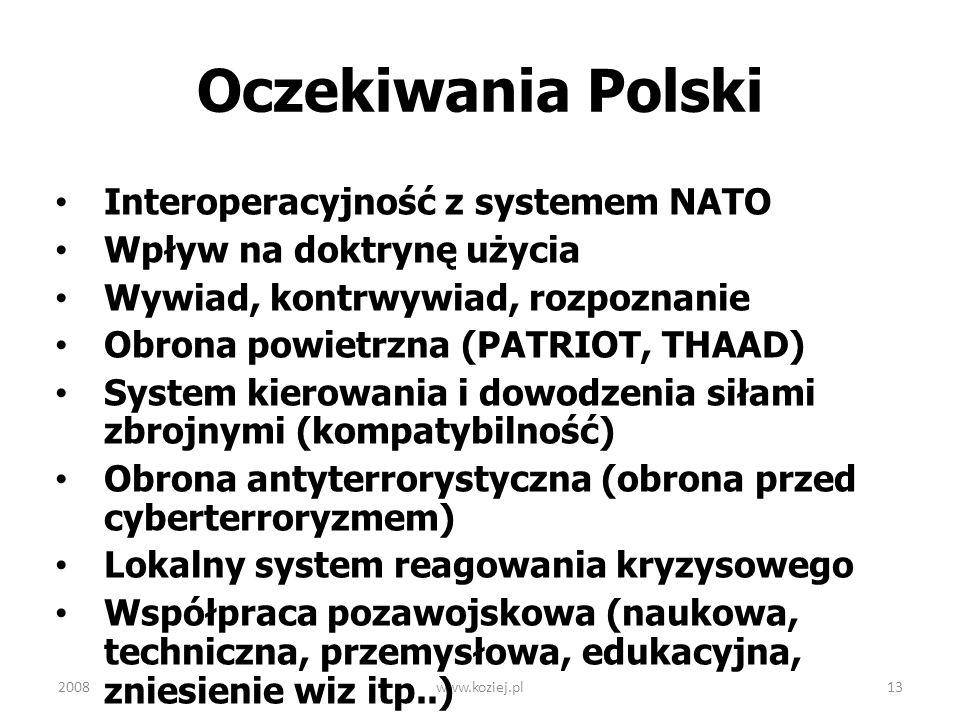 2008www.koziej.pl13 Oczekiwania Polski Interoperacyjność z systemem NATO Wpływ na doktrynę użycia Wywiad, kontrwywiad, rozpoznanie Obrona powietrzna (