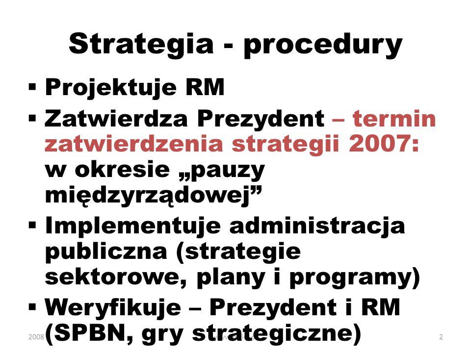 2008www.koziej.pl3 Treść strategii 2007 Podejście zintegrowane, cywilno- wojskowe Interesy i cele - kompleksowo Warunki: szanse, wyzwania i zagrożenia (brak zagrożeń militarnych ???) Koncepcja – bez myśli przewodniej, wadliwa struktura: bezpieczeństwo zewnętrzne a militarne????; wewnętrzne a obywatelskie???.