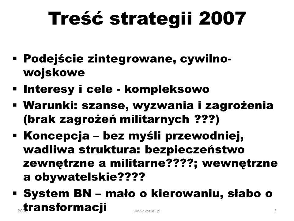2008www.koziej.pl3 Treść strategii 2007 Podejście zintegrowane, cywilno- wojskowe Interesy i cele - kompleksowo Warunki: szanse, wyzwania i zagrożenia