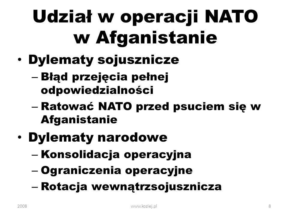 Udział w operacji NATO w Afganistanie Dylematy sojusznicze – Błąd przejęcia pełnej odpowiedzialności – Ratować NATO przed psuciem się w Afganistanie D