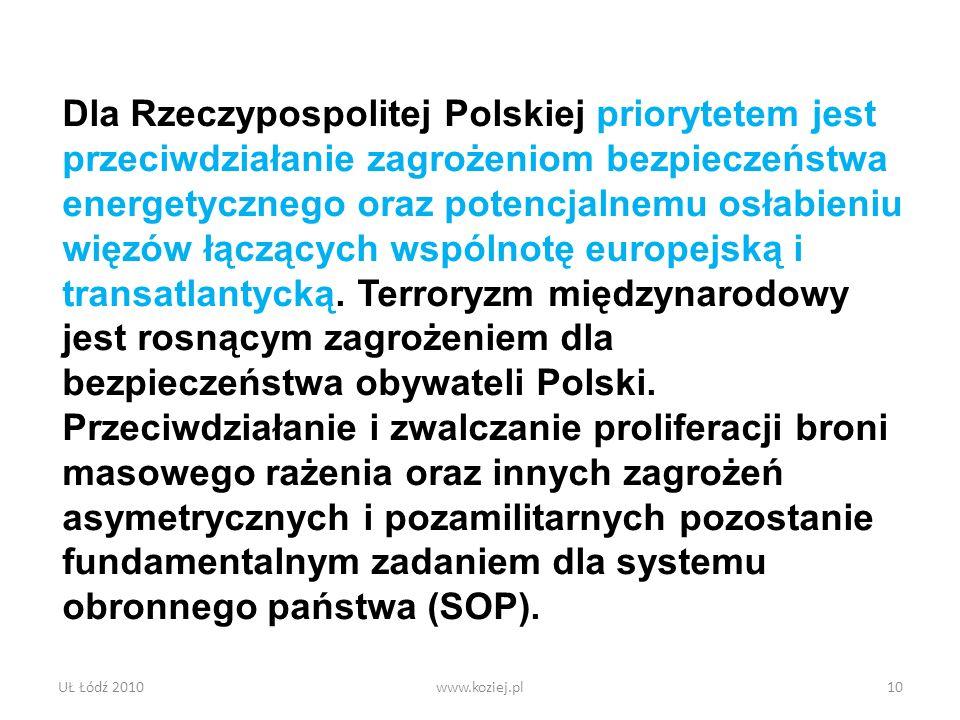 UŁ Łódź 2010www.koziej.pl10 Dla Rzeczypospolitej Polskiej priorytetem jest przeciwdziałanie zagrożeniom bezpieczeństwa energetycznego oraz potencjalne