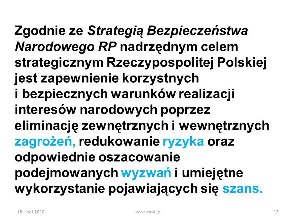 UŁ Łódź 2010www.koziej.pl13 Zgodnie ze Strategią Bezpieczeństwa Narodowego RP nadrzędnym celem strategicznym Rzeczypospolitej Polskiej jest zapewnieni