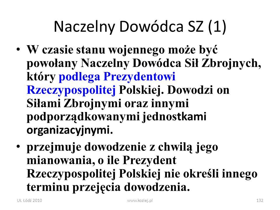 UŁ Łódź 2010www.koziej.pl132 Naczelny Dowódca SZ (1) W czasie stanu wojennego może być powołany Naczelny Dowódca Sił Zbrojnych, który podlega Prezyden