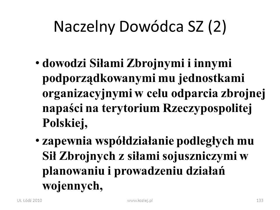 UŁ Łódź 2010www.koziej.pl133 Naczelny Dowódca SZ (2) dowodzi Siłami Zbrojnymi i innymi podporządkowanymi mu jednostkami organizacyjnymi w celu odparci