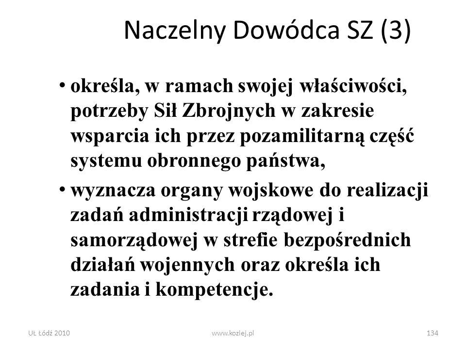 UŁ Łódź 2010www.koziej.pl134 Naczelny Dowódca SZ (3) określa, w ramach swojej właściwości, potrzeby Sił Zbrojnych w zakresie wsparcia ich przez pozami