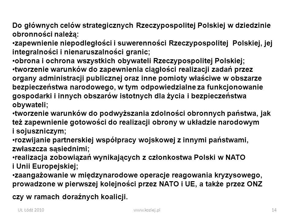 UŁ Łódź 2010www.koziej.pl14 Do głównych celów strategicznych Rzeczypospolitej Polskiej w dziedzinie obronności należą: zapewnienie niepodległości i su