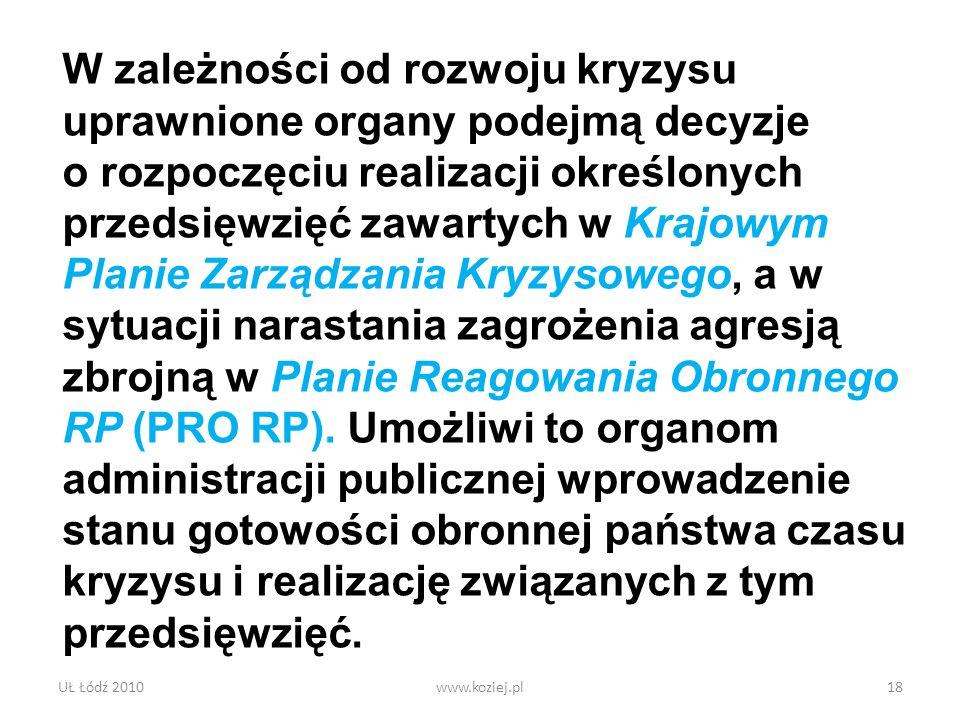UŁ Łódź 2010www.koziej.pl18 W zależności od rozwoju kryzysu uprawnione organy podejmą decyzje o rozpoczęciu realizacji określonych przedsięwzięć zawar