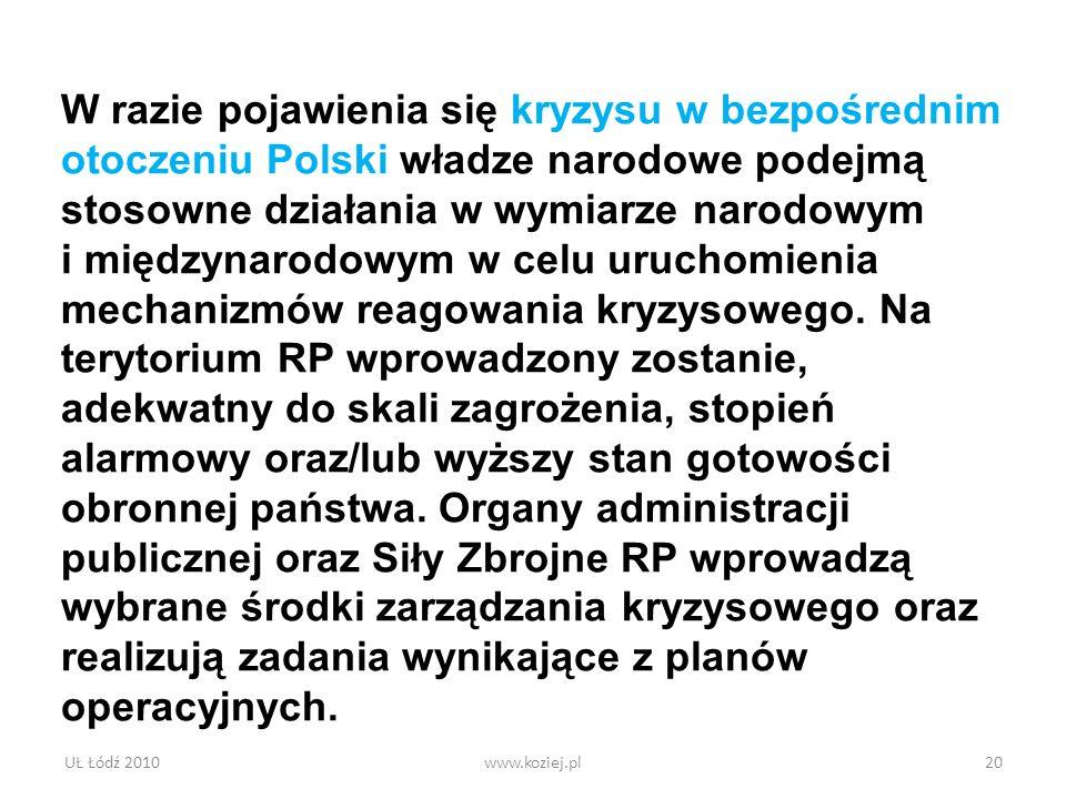 UŁ Łódź 2010www.koziej.pl20 W razie pojawienia się kryzysu w bezpośrednim otoczeniu Polski władze narodowe podejmą stosowne działania w wymiarze narod