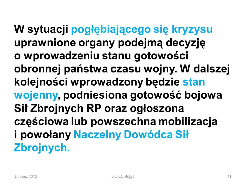 UŁ Łódź 2010www.koziej.pl21 W sytuacji pogłębiającego się kryzysu uprawnione organy podejmą decyzję o wprowadzeniu stanu gotowości obronnej państwa cz