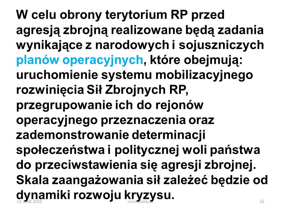 UŁ Łódź 2010www.koziej.pl22 W celu obrony terytorium RP przed agresją zbrojną realizowane będą zadania wynikające z narodowych i sojuszniczych planów
