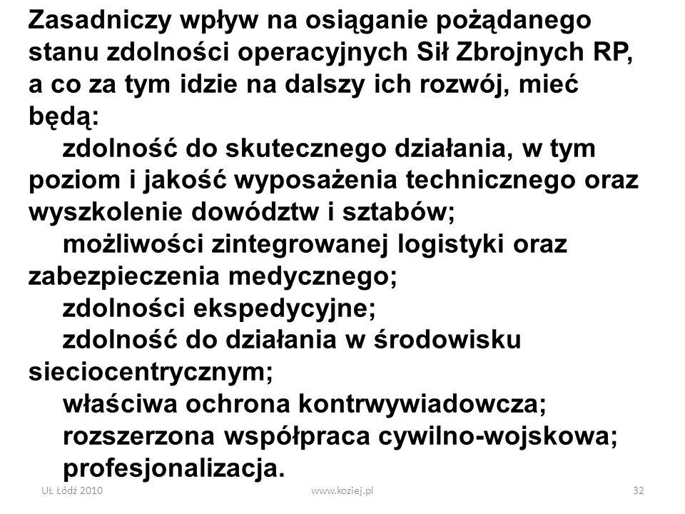 UŁ Łódź 2010www.koziej.pl32 Zasadniczy wpływ na osiąganie pożądanego stanu zdolności operacyjnych Sił Zbrojnych RP, a co za tym idzie na dalszy ich ro