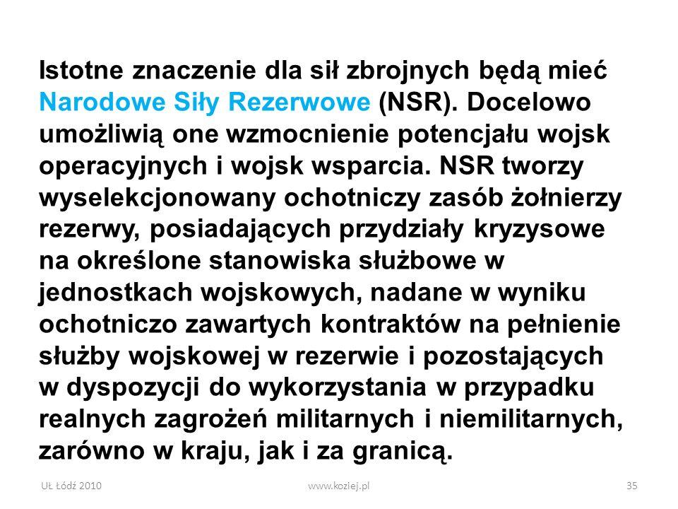 UŁ Łódź 2010www.koziej.pl35 Istotne znaczenie dla sił zbrojnych będą mieć Narodowe Siły Rezerwowe (NSR). Docelowo umożliwią one wzmocnienie potencjału