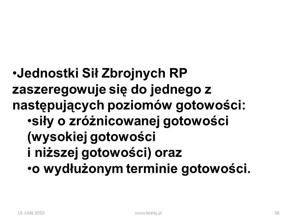 UŁ Łódź 2010www.koziej.pl36 Jednostki Sił Zbrojnych RP zaszeregowuje się do jednego z następujących poziomów gotowości: siły o zróżnicowanej gotowości