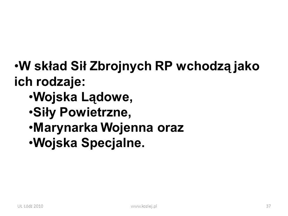UŁ Łódź 2010www.koziej.pl37 W skład Sił Zbrojnych RP wchodzą jako ich rodzaje: Wojska Lądowe, Siły Powietrzne, Marynarka Wojenna oraz Wojska Specjalne
