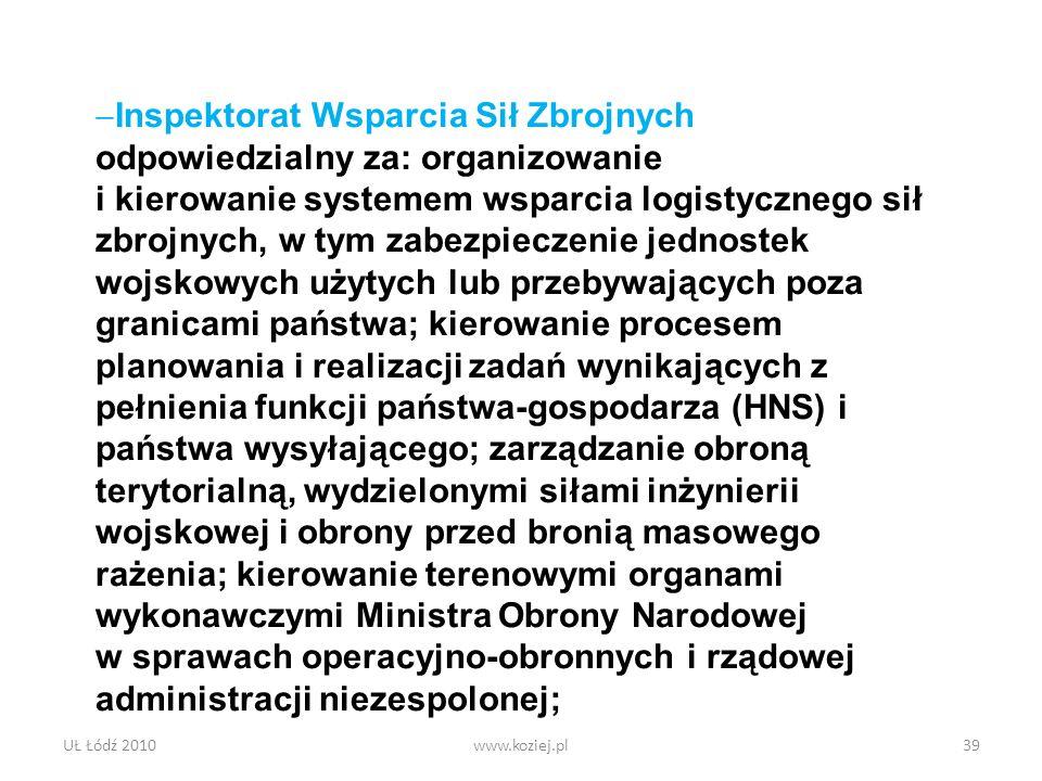UŁ Łódź 2010www.koziej.pl39 Inspektorat Wsparcia Sił Zbrojnych odpowiedzialny za: organizowanie i kierowanie systemem wsparcia logistycznego sił zbroj