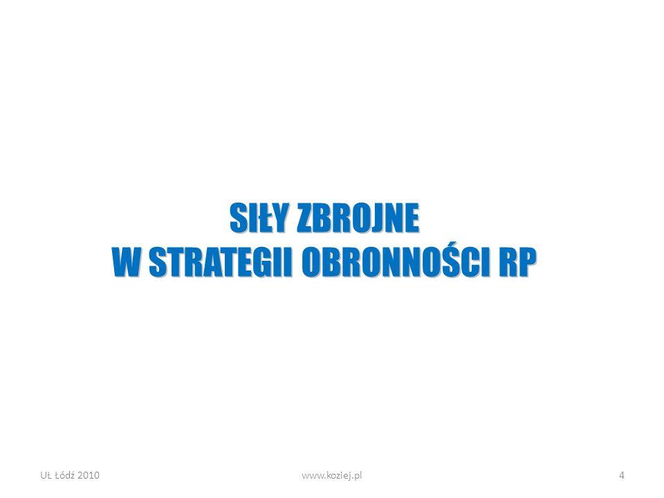 UŁ Łódź 2010www.koziej.pl4 SIŁY ZBROJNE W STRATEGII OBRONNOŚCI RP