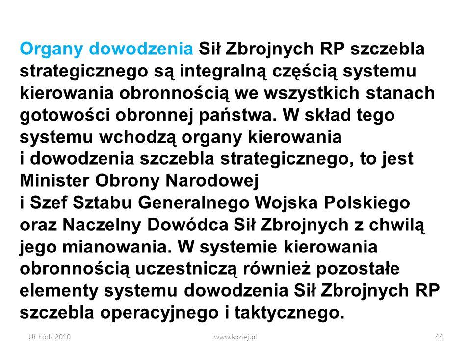 UŁ Łódź 2010www.koziej.pl44 Organy dowodzenia Sił Zbrojnych RP szczebla strategicznego są integralną częścią systemu kierowania obronnością we wszystk