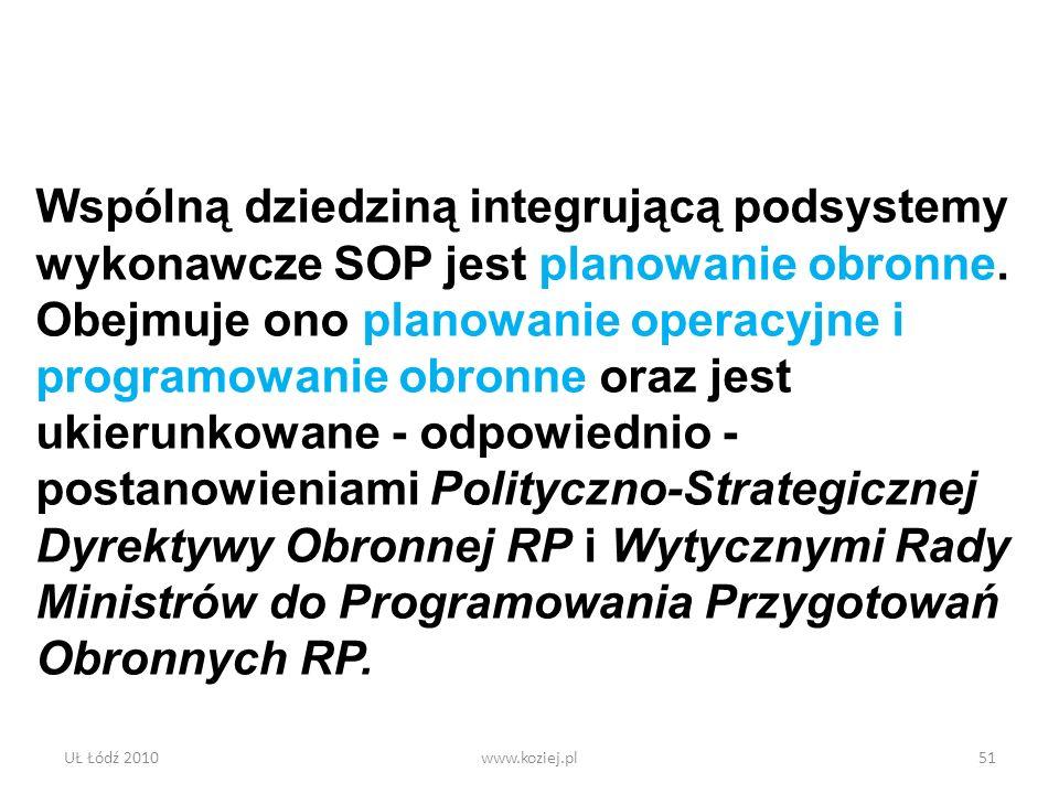 UŁ Łódź 2010www.koziej.pl51 Wspólną dziedziną integrującą podsystemy wykonawcze SOP jest planowanie obronne. Obejmuje ono planowanie operacyjne i prog