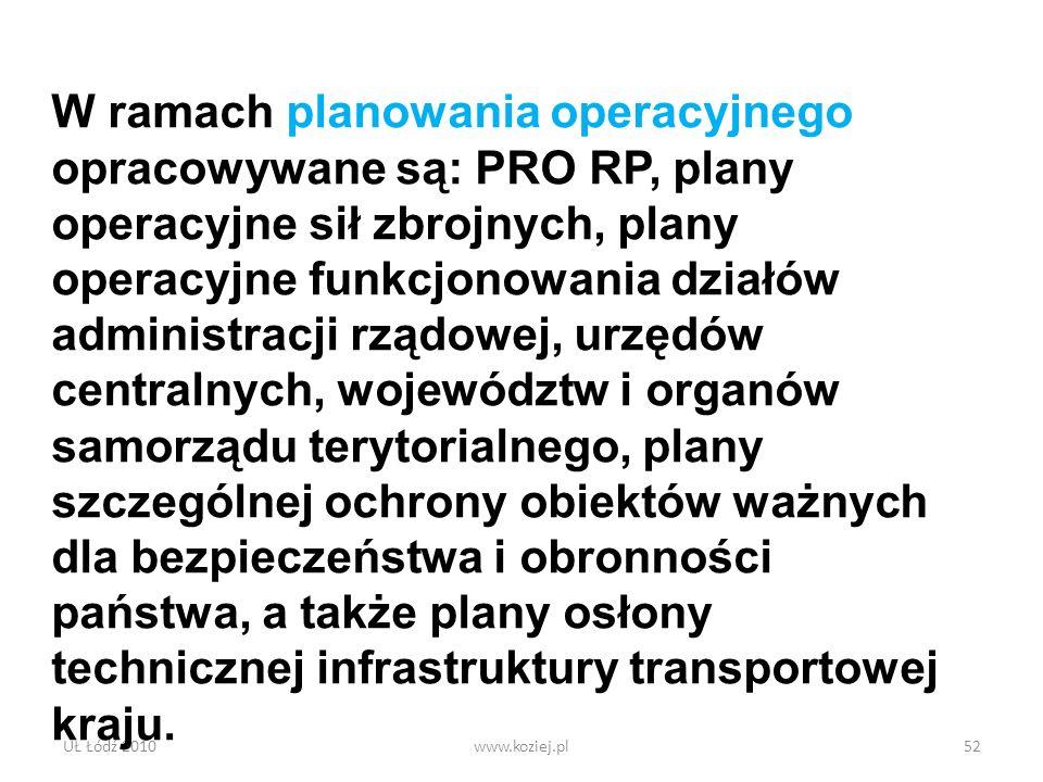 UŁ Łódź 2010www.koziej.pl52 W ramach planowania operacyjnego opracowywane są: PRO RP, plany operacyjne sił zbrojnych, plany operacyjne funkcjonowania