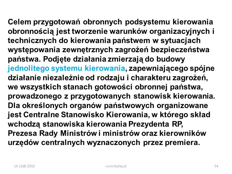 UŁ Łódź 2010www.koziej.pl54 Celem przygotowań obronnych podsystemu kierowania obronnością jest tworzenie warunków organizacyjnych i technicznych do ki