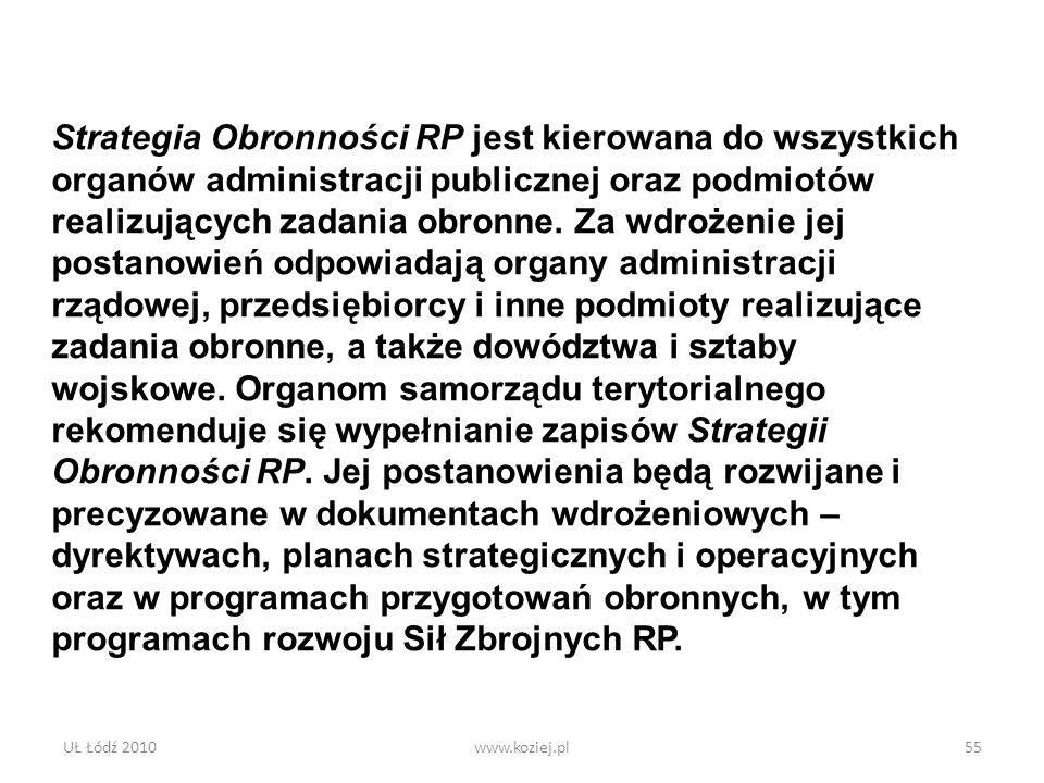 UŁ Łódź 2010www.koziej.pl55 Strategia Obronności RP jest kierowana do wszystkich organów administracji publicznej oraz podmiotów realizujących zadania