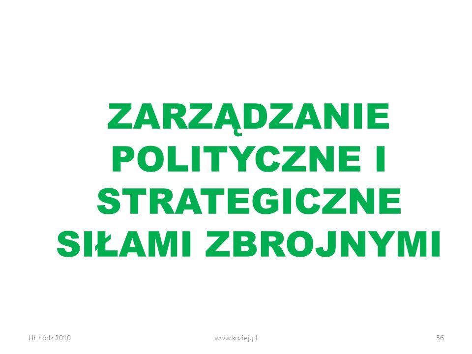 UŁ Łódź 2010www.koziej.pl56 ZARZĄDZANIE POLITYCZNE I STRATEGICZNE SIŁAMI ZBROJNYMI